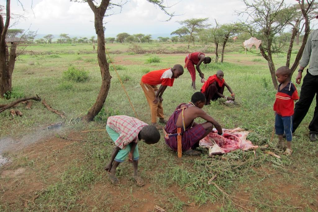 Preparing the Maasai Barbecue