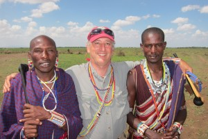 Alan of Infinite Safari Adventures with Maasai Friends wearing Maasai beads