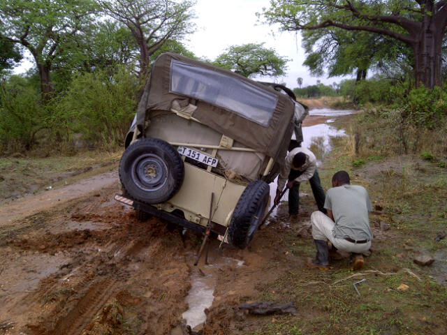 Safari Vehicle Stuck in Mud in Tanzania
