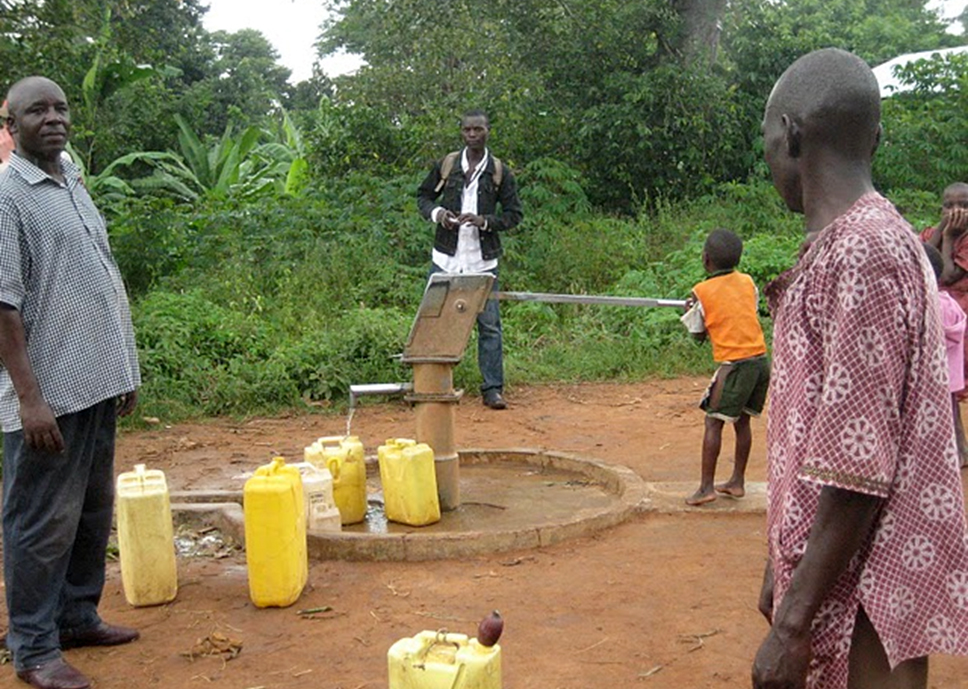 The main borehole where the community and surrounding school children line up their jerry cans. It is the only source of clean drinking water in the village and serves about 3000 people.