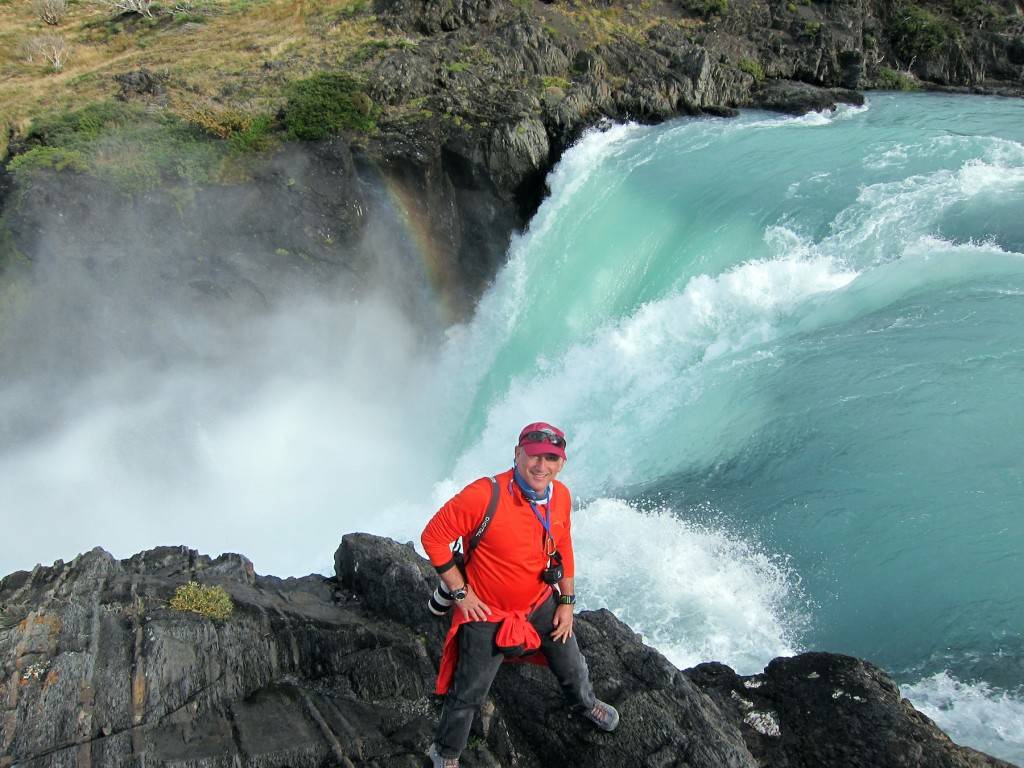 Alan at Waterfall, Torres del Paine National Park