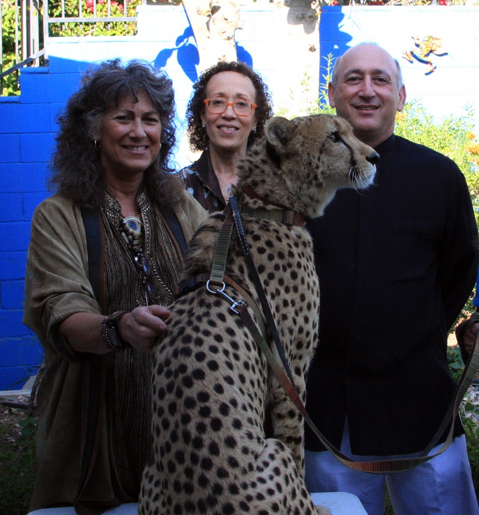 Dr. Laurie Marker, Diane Haithman, Alan Feldstin with Cheetah