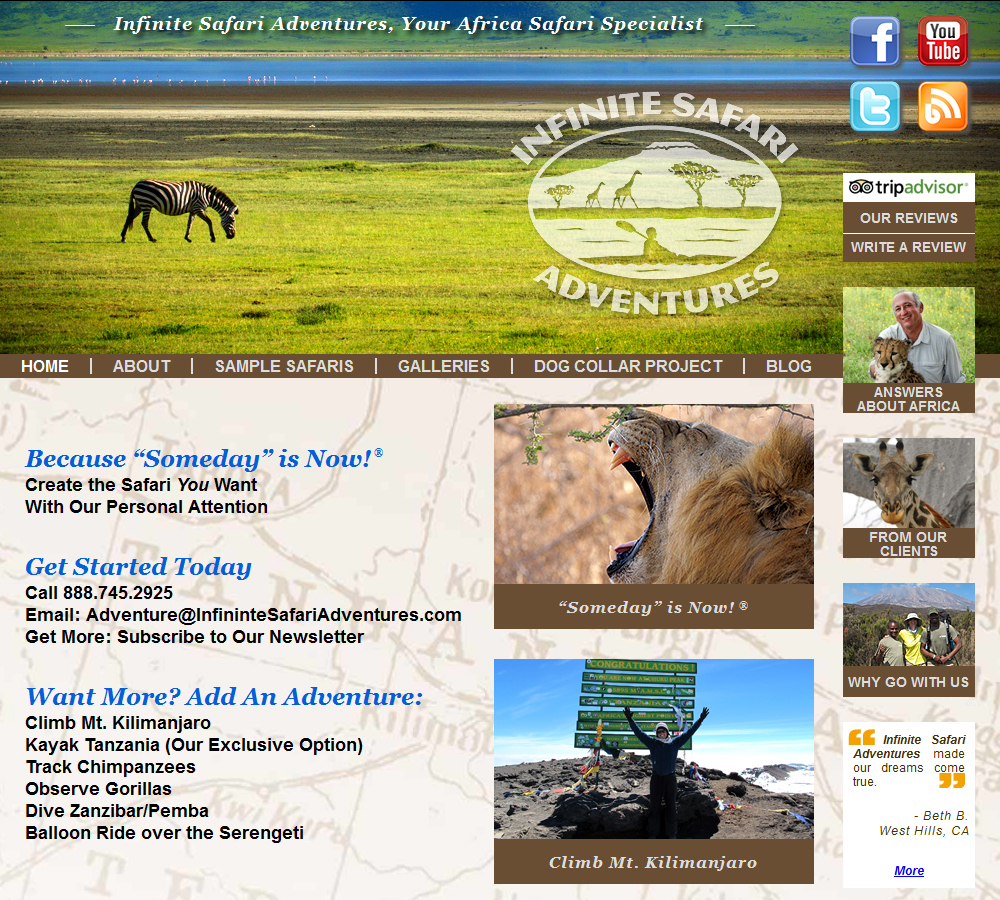 The New Infinite Safari Adventures Web Site