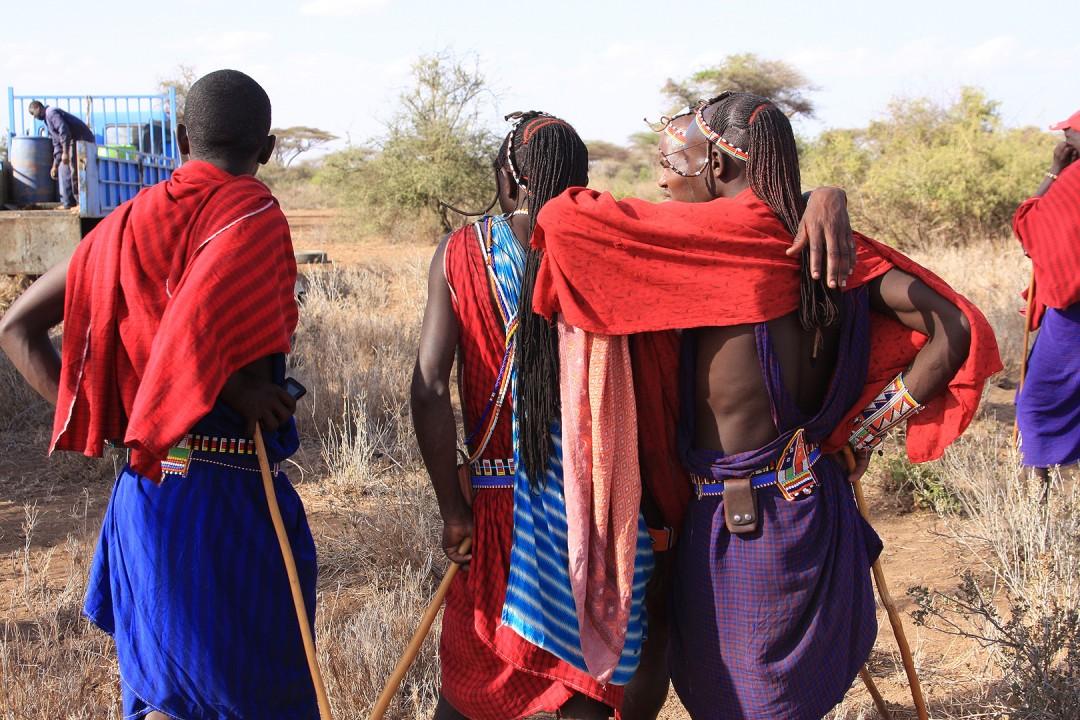Massai Watching the Drilling