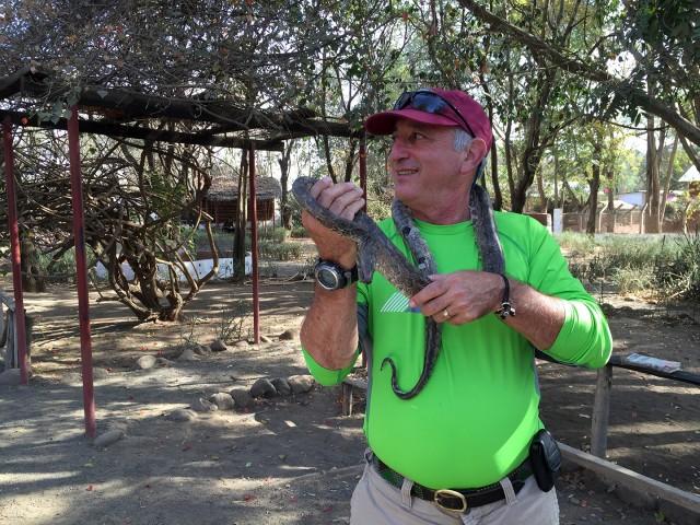 Alan Feldstein at the Snake Park in Arusha